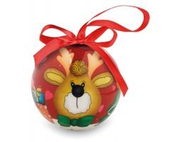 Vánoční ozdoba koule RINK s motivem soba - červená