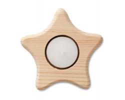 Dřevěný svícen na čajovou svíčku FOLIO ve tvaru hvězdy - hnědá (dřevo)