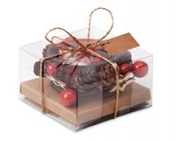 Skleněný vánoční svícen PINGS v dárkovém balení - červená
