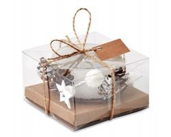 Skleněný vánoční svícen PINGS v dárkovém balení - bílá