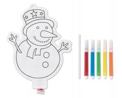 Omalovánkový 3D sněhulák GASED pro děti, 5 fixů - bílá