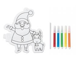 Omalovánkový balonek SANTINI ve tvaru Santa Claus se sobem s 5 fixy - bílá