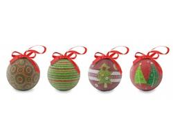 Sada vánočních koulí ASHINESS, 4 kusy - vícebarevné