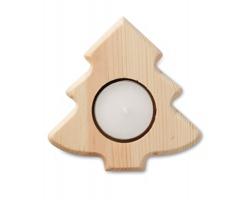 Dřevěný stojánek na čajovou svíčku TREES tvaru stromečku - hnědá (dřevo)