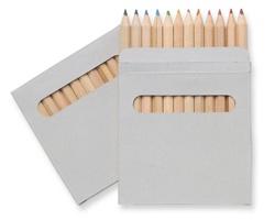 Sada dřevěných pastelek BOOAY v papírové krabičce, 12 ks - hnědá