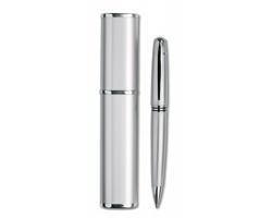 Kovové kuličkové pero LITERAL v pouzdru - stříbrná