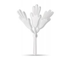 Plastové fandítko ve tvaru dlaně SCATS - bílá