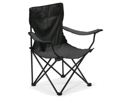Skládací outdoorová židle TYLER s opěrkami - černá