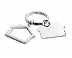 Kovový přívěšek na klíče ODELIA ve tvaru domu - lesklá stříbrná