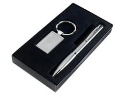 Sada kuličkové pero a klíčenka PONG - matně stříbrná