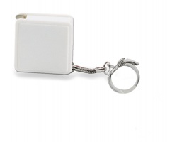 Plastový svinovací metr ERICH s kroužkem na klíče, 1 metr - bílá
