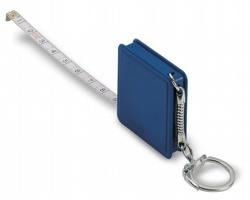 Plastový svinovací metr ERICH s kroužkem na klíče, 1 metr - modrá