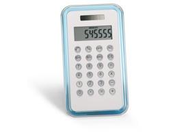 Plastová kalkulačka CELIE, 8 místná - transparentní modrá