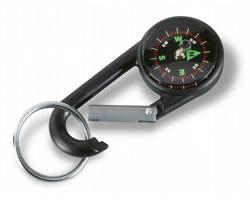 Plastová karabina NORMAN s kompasem - černá