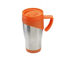 Nerezový cestovní termohrnek PERKS, 455ml - oranžová