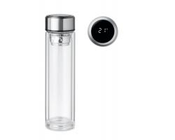Skleněná lahev RUNA s dotykovým teploměrem ve víčku, 390 ml - transparentní