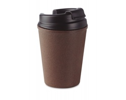 Plastový cestovní hrnek LINGY z kávových zrn, 300 ml - hnědá