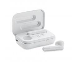 Plastová bezdrátová sluchátka CHEYENNE s nabíjecí krabičkou - bílá