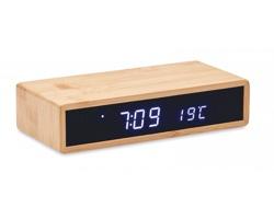 Bambusové stolní hodiny s teploměrem a bezdrátovou nabíječkou WELSHERS - dřevěná
