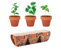 Sada terakotových květináčů PONEMAH se semínky bylinek - dřevěná