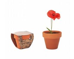 Terakotový květináč POPPS se semínky máku - dřevěná
