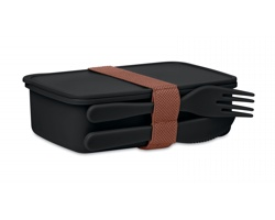 Plastová obědová krabička COLLEN s příborem, 700 ml - černá