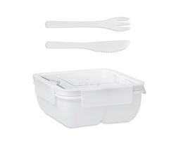 Plastová obědová krabička LYLA s příborem, 600 ml - bílá