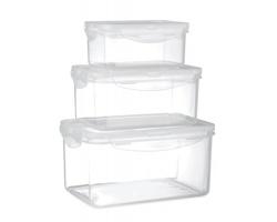 Sada plastových nádob na potraviny OSSEUM, 3 ks - transparentní