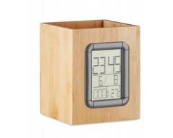 Bambusový stojan na tužky RESEAU s hodinami - dřevěná