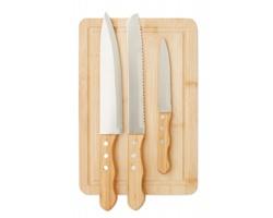 Set bambusového prkénka a nožů COOKIN, 4 ks - dřevěná