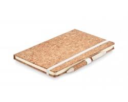 Linkovaný zápisník s korkovými deskami AVERSE a kuličkovým perem, formát A5 - béžová