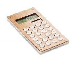 Plastová kalkulačka ABBY s bambusovým povrchem - dřevěná