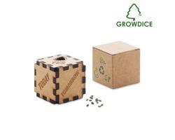 Dřevěná plánovací kostka PINEDICE se semínky borovice - béžová