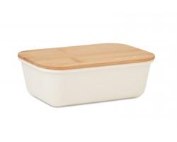 Plastová obědová krabička TUYET s bambusovým víčkem, 1 l - béžová