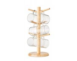 Bambusový držák hrnečků COLBERT se skleněnými hrnečky, 6 ks - dřevěná