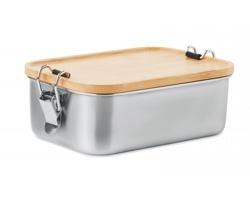 Nerezová obědová krabička RETRO s bambusovým víčkem, 750 ml - dřevěná