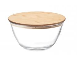 Skleněná salátová mísa GLOWL s bambusovým víčkem, 1200 ml - transparentní