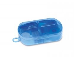 Sada kancelářských potřeb MONKS v plastové pouzdru, 304 ks - transparentní modrá