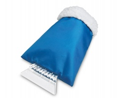 Plastová škrabka na zamrzlá okna BABETTE s rukavicí - modrá
