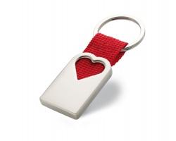 Kovová klíčenka ESTER ve tvaru srdce - červená