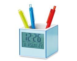 Plastový stojánek DARRIN s fotorámečkem a hodinami - transparentní modrá