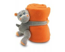 Fleecová deka LINDA s hrochem - oranžová