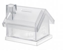 Plastová kasička TUCSON ve tvaru domu - transparentní
