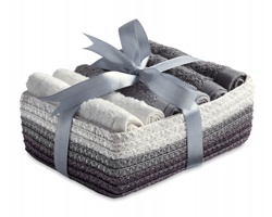 Sada bavlněných ručníků ILANA v košíku, 6ks - šedá