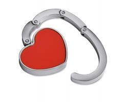 Kovový držák na tašku NANETA ve tvaru srdce - červená