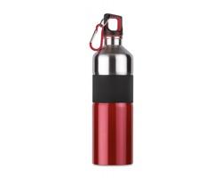 Nerezová lahev na pití TIERA s karabinou, 750 ml - červená