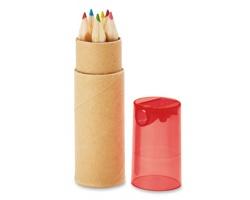Barevné dřevěné tužky RAMENTA s ořezávátkem - transparentní červená