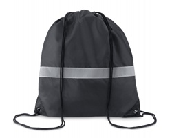 Polyesterový stahovací batoh WRAITHS s reflexním páskem - černá