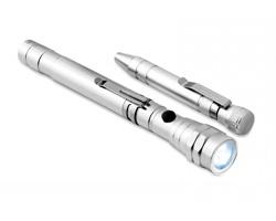 Hliníkový multifunkční nástroj EXON ve tvaru tužky v dárkové kazetě - stříbrná