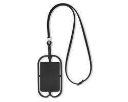 Silikonové pouzdro na chytrý telefon MOUSSE s přihrádkou na kartu - černá